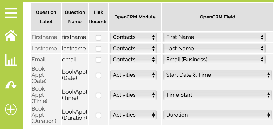 Map Jotform appointment fields in OpenCRM