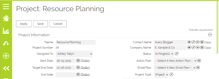 Project Resource Planning in OpenCRM
